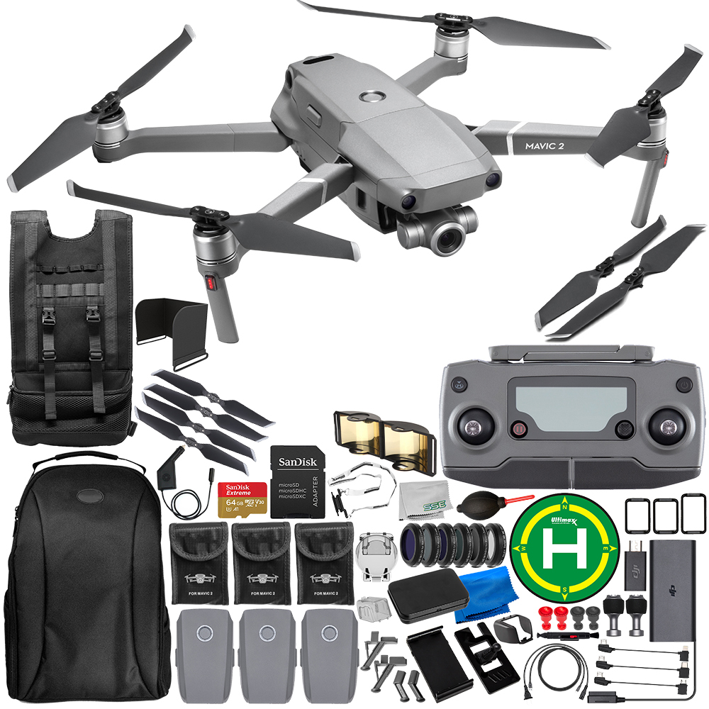 DJI Mavic 2 Zoom Drone Quadcopter with 24-48mm Optical Zoom Camera 64GB Ultimate Everything You Need 3-Battery Bundle