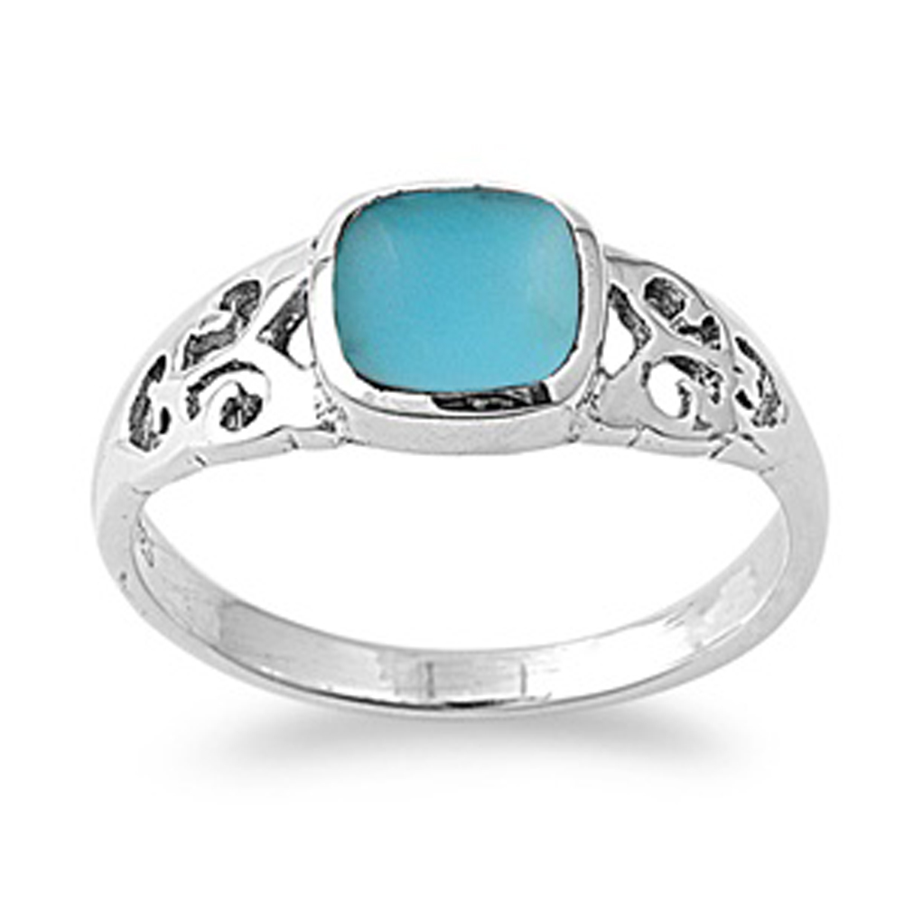 Sterling Silver Women's Simulated Turquoise Ring ( Sizes 5 6 7 8 9 ) Simple Classic 925 Band 8mm Rings by Sac Silver (Size 6)