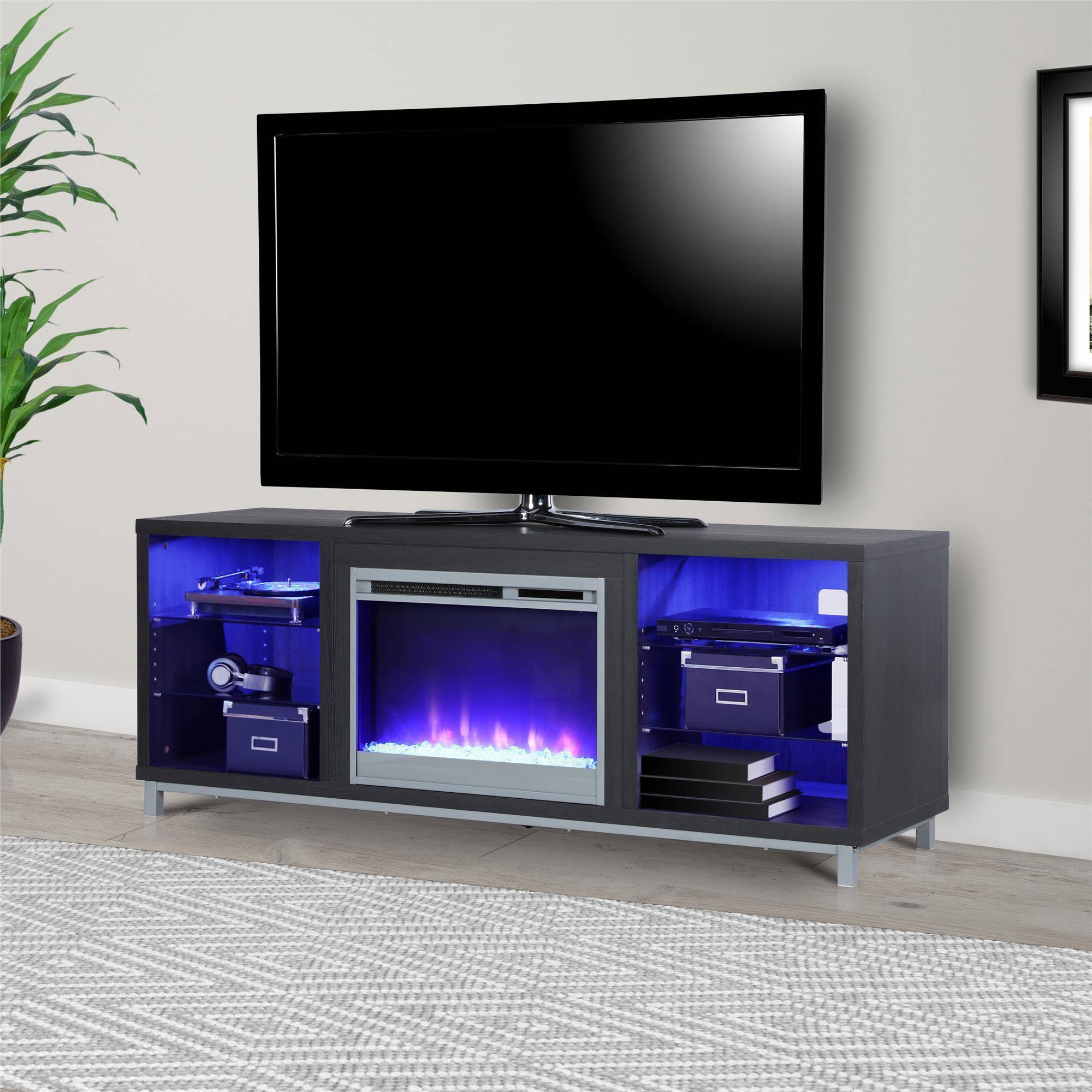 70 Quot Electric Fireplace Lighted Tv Stand Entertainment