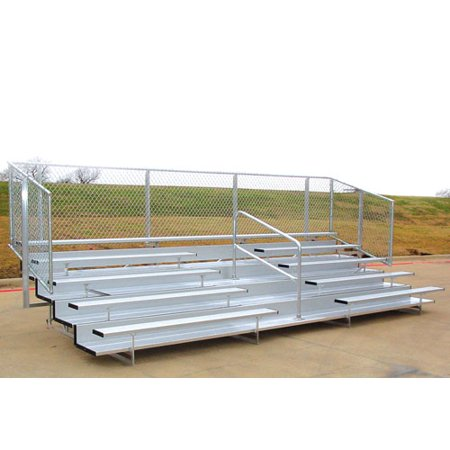 Image of Bleachers 15'L with Fence, 8 Rows 80 Seats - Alumagoal VIP Series