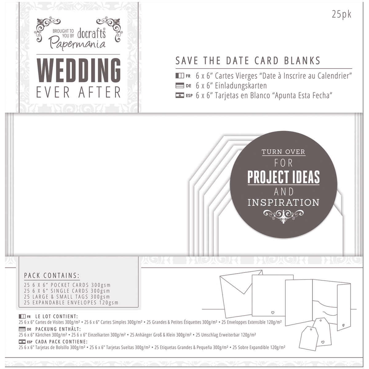Papermania Ever After Wedding Blank Cards, 25pk, White Die-Cut Heart