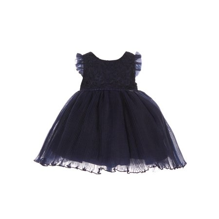 Baby Girls Navy Lace Accordion Pleated Cotton Lined Flower Girl Dress (Baby Surprise Jacket Line By Line Instructions)