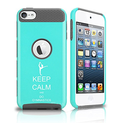 For Apple iPod Touch 5th / 6th Shockproof Impact Hard Soft Case Cover Keep Calm and Do Gymnastics (Teal-Grey)
