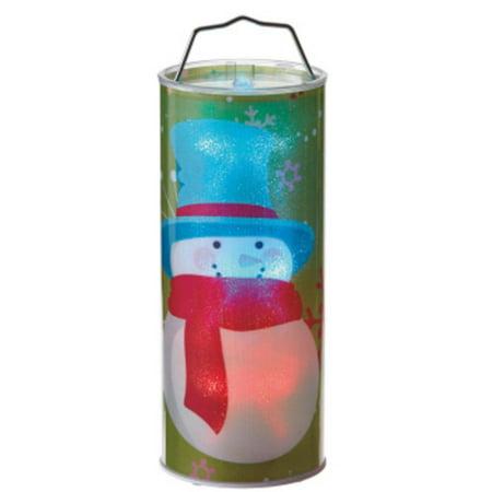 """12"""" fonctionne à pile Bonhomme de neige transparent LED changeant de couleur Lighted Hanging lanterne de Noël - image 1 de 1"""
