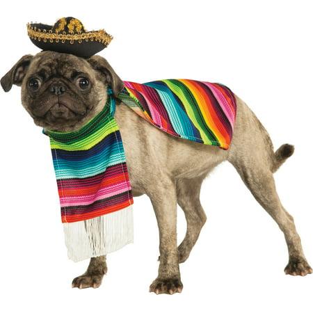 Poncho And Sombrero Pet Halloween Costume - Walmart.com