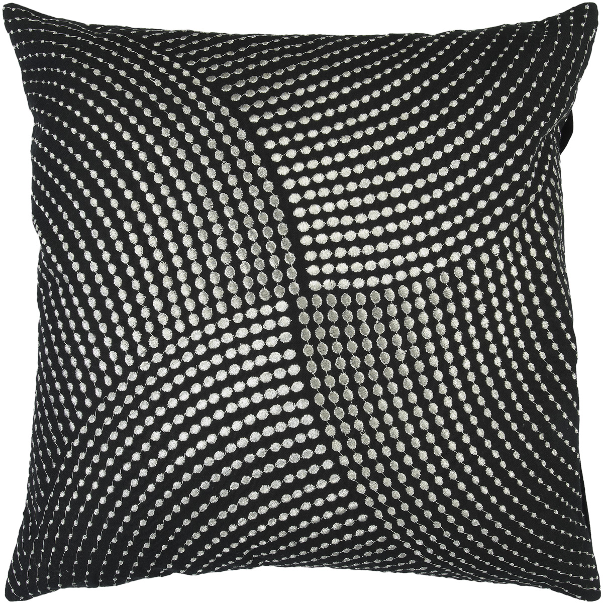 Surya Surya Pillows Area Rugs - P0223 Contemporary Black/Silver Stipple Polka Dot Embroidery Stripes Rug