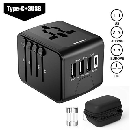 Supersellers Portable Travel Charging Adapter Converter, Universal Adapter (US/EU/UK/AUS) with 3 USB Ports 1 Type C Portable Adapter Converter for Over 170 International