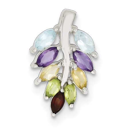 Silver Amethyst Heart Charm (925 Sterling Silver Purple Amethyst Blue Topaz Yellow Citrine Red Garnet Green Peridot Leaf Pendant Charm Necklace Gemstone Gifts For Women For Her)