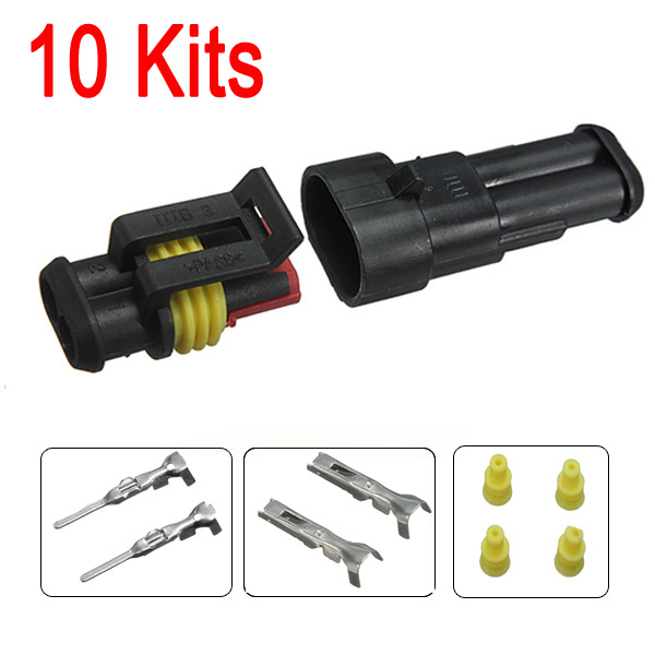 10 Kits 2 Pin Way Sealed Waterproof Electrical Wire Connector Plug Pins Car Auto Set