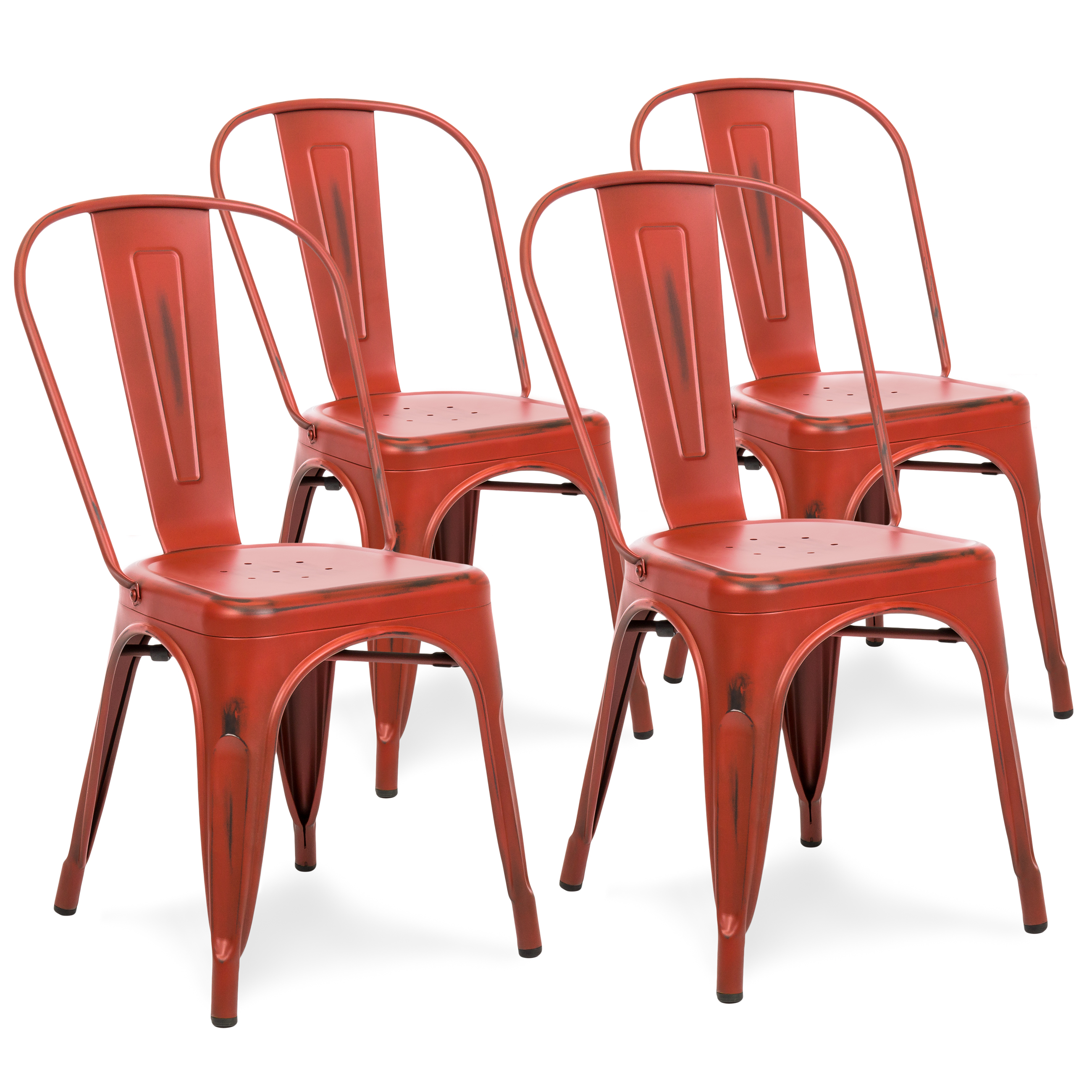 Best Choice Products Set of 4 Distressed Industrial Metal Dining Side Chairs (Red)