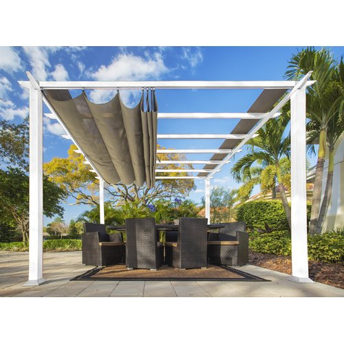 Aspen 11' x 11' White Aluminum Pergola with a Sand Color Convertible Canopy Top by Paragon Group USA