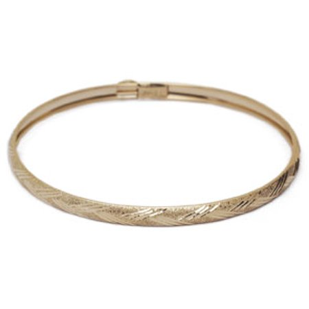 10K Yellow Gold Flexible Bangle Bracelet With Diamond Cut Design 8 Inches