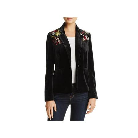 (Lucy Paris Womens Velvet Embroidered One-Button Blazer)