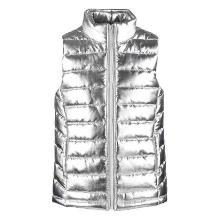 Toddler & Girls Shiny Metallic Silver Puffer Jacket Vest