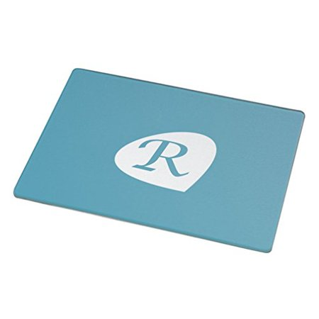 Rikki Knight Letter   R   Teal Blue Initial Petal Leaves Large Glass Cutting Board Workspace Saver  15 3 X 11 3 Inch