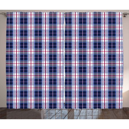 Checkered Curtains 2 Panels Set, Classical Vintage Design with Vibrant Colors Scottish Tartan Tile, Window Drapes for Living Room Bedroom, 108W X 90L Inches, Maroon Royal Blue White, by Ambesonne