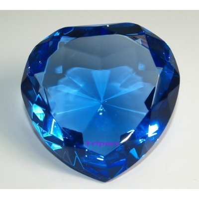 Diamond Jewel Paperweight Sapphire Heart Shaped Cut 80mm, Size: 80 mm (diameter) x 45 mm (height) By SW