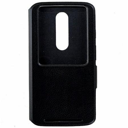 Leather Package - Motorola Flip Case Folio Cover for Motorola Droid Turbo 2 XT1585 - Black Leather