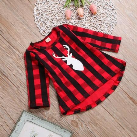 7b53a08c2d17 Christmas Newborn Toddler Baby Girls Cotton Plaid Deer Long Sleeve Dress  Clothes - Walmart.com
