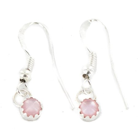Certified Authentic Navajo .925 Sterling Silver Natural Pink Mother of Pearl Native American Dangle Earrings American Pearl Earrings