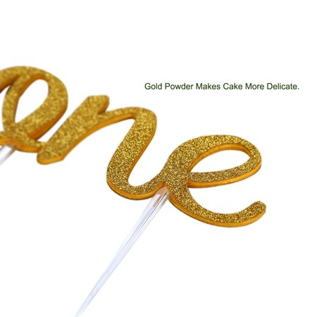 Handmade ONE Letter Birthday Cake Topper Decoration with Double Sided Gold Glitter Stock - image 6 de 7