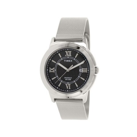 T2P519 Classics Men's Silver Steel Band With Black Analog Dial Watch (Sun Silver Dial Jewelry)