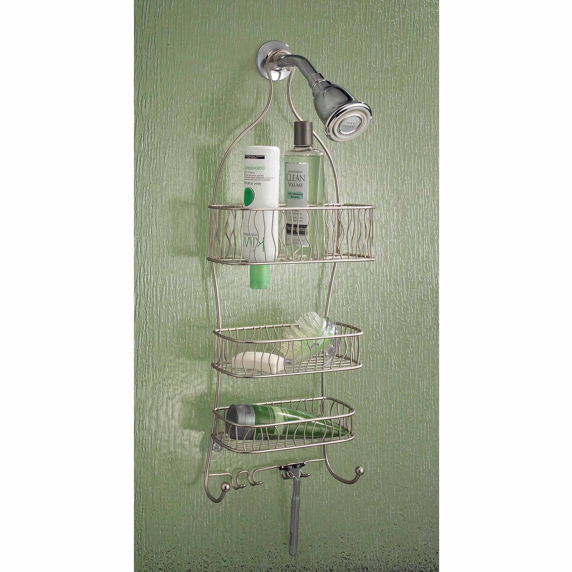 InterDesign Squiggle Bathroom Shower Caddy for Shampoo, Conditioner, Soap, Satin by INTERDESIGN