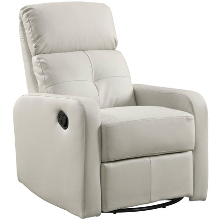 Monarch Recliner Swivel Glider White Bonded Leather