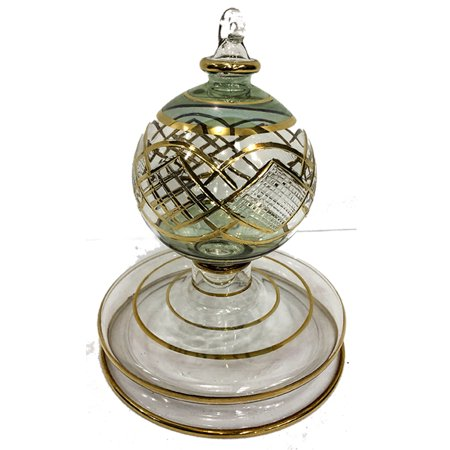 Christmas Tree Ornament, Lovely pattern of Arches and Angles in Gold with Green. Handmade in Egypt. ()