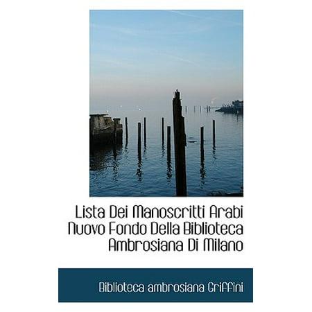 Lista Dei Manoscritti Arabi Nuovo Fondo Della Biblioteca Ambrosiana Di Milano ()