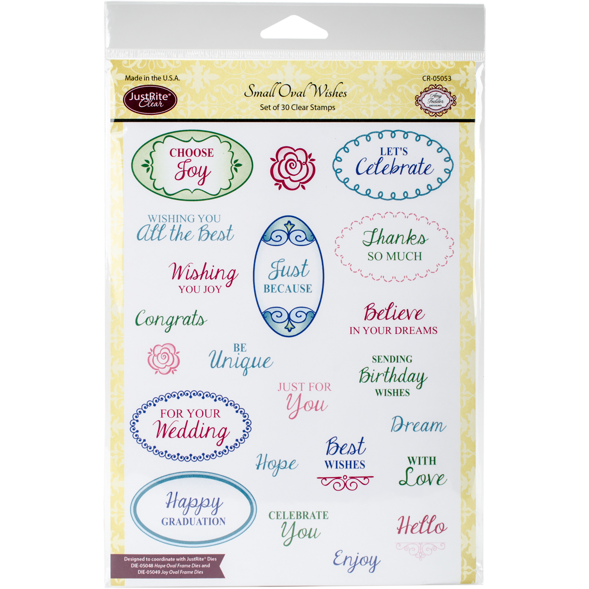 """JustRite Papercraft Clear Stamps 6""""X8""""-Small Oval Wishes"""