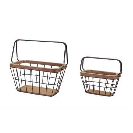 Set of 2 Wooden Vintage Baskets 15