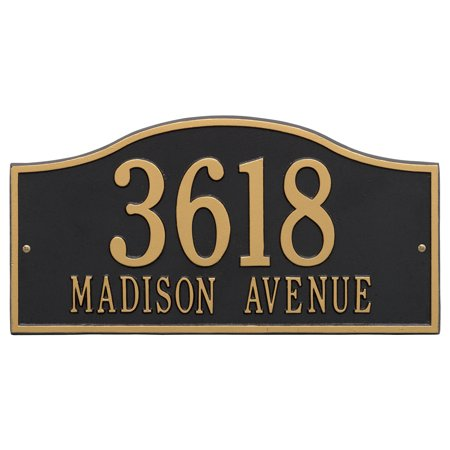 - Personalized Whitehall Products Rolling Hills Grand Wall Address Plaque in Black/Gold