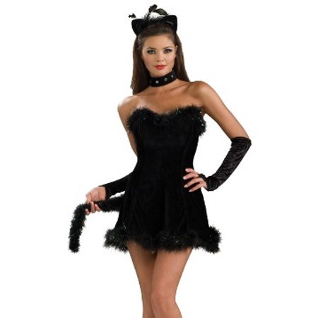 Sexy Adult Womens Halloween Costumes Black Feline Kitty Cat Costume Dress Theme Party Outfit (Halloween Theme Orchestral)