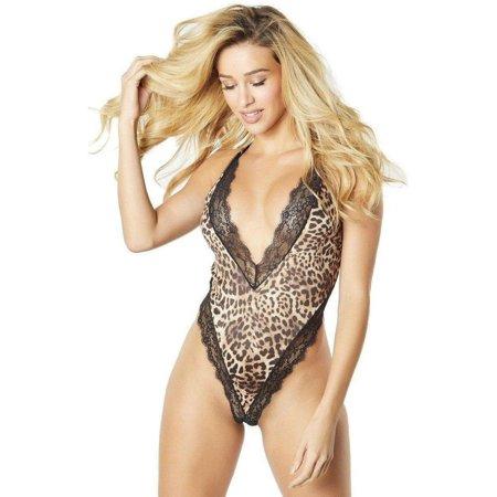 Oh La La Cheri Lace Trim Bodysuit - Leopard Bodysuit