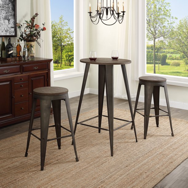 3 Piece Dining Set Pub Style Industrial Wooden Bar Table And Chairs Dining Set Kitchen Counter