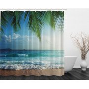 Palms Ocean Tropical Island Beach Decor Summer Fabric Extra Long Shower Curtain