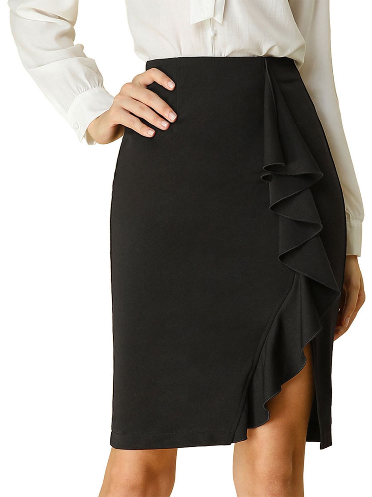 Details about  /Eloquii Blue Asymmetrical Midi Skirt