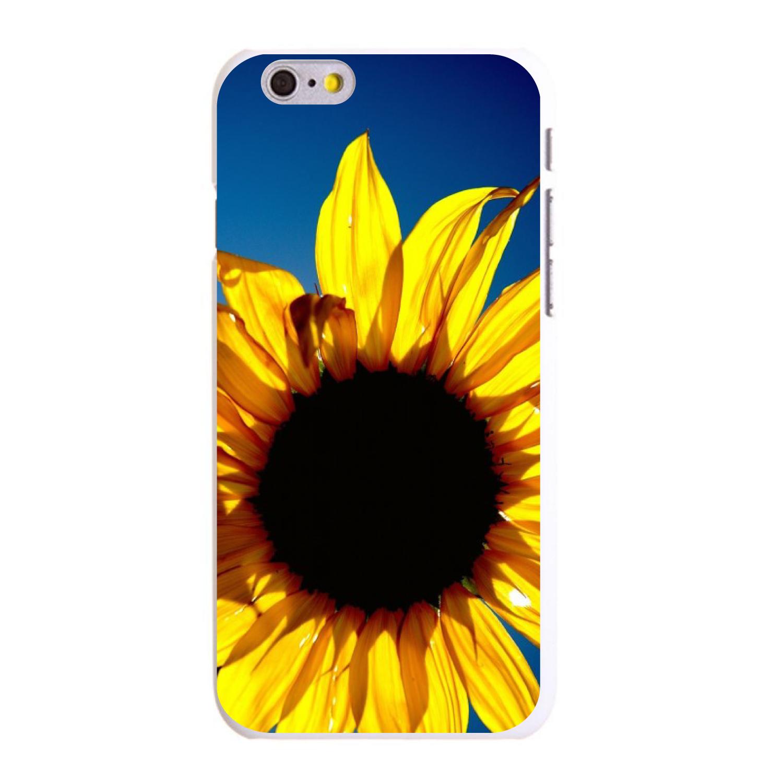 "CUSTOM White Hard Plastic Snap-On Case for Apple iPhone 6 / 6S (4.7"" Screen) - Blue Yellow Sunflower Sky"