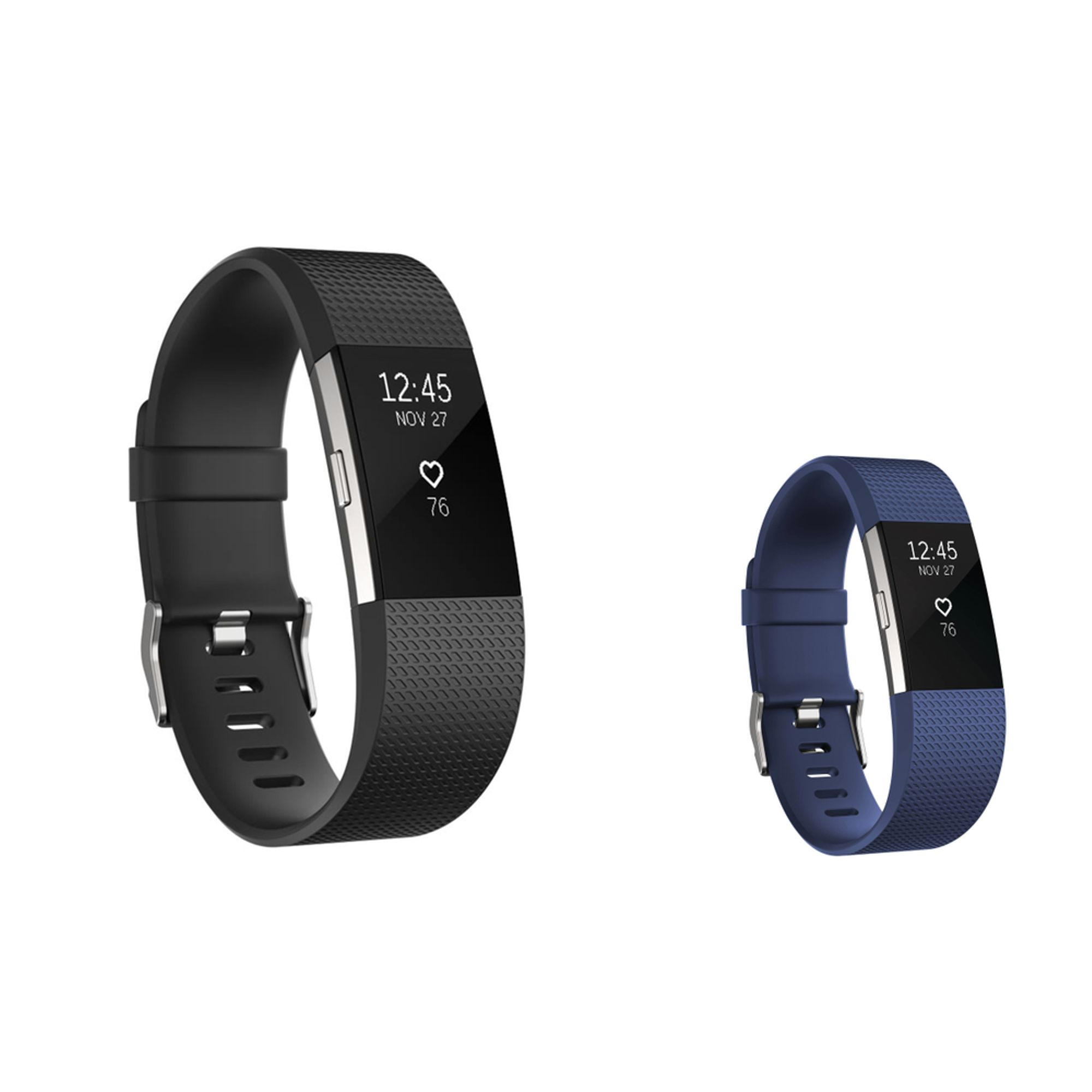 Zodaca 2 pack (Black & Dark Blue) Replacement Accessory Soft Silicone Rubber Adjustable Wristband Strap Band with Watchband-style Buckle for Fitbit Charge 2