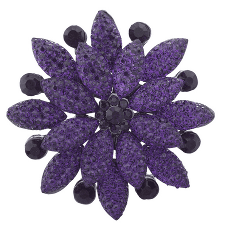 - Lux Accessories Purple Pave and Crystal Stone Floral Flower Bling Brooch Pin
