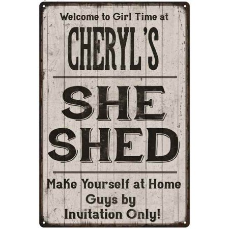 Cheryl S She Shed Sign Personalized Lady Cave Gift 8 X 12 High Gloss Metal 208120082062