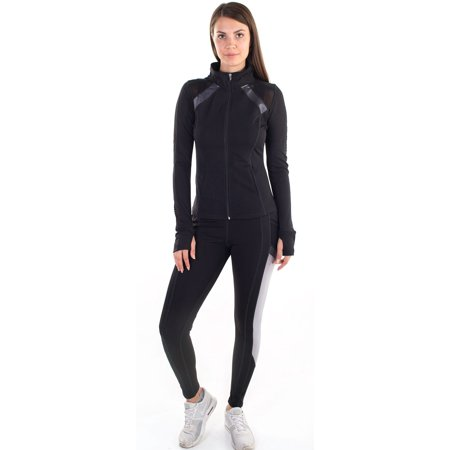 Black Mesh Jacket - Women's Active Set Jacket and Leggings with Mesh Blocking Contrast
