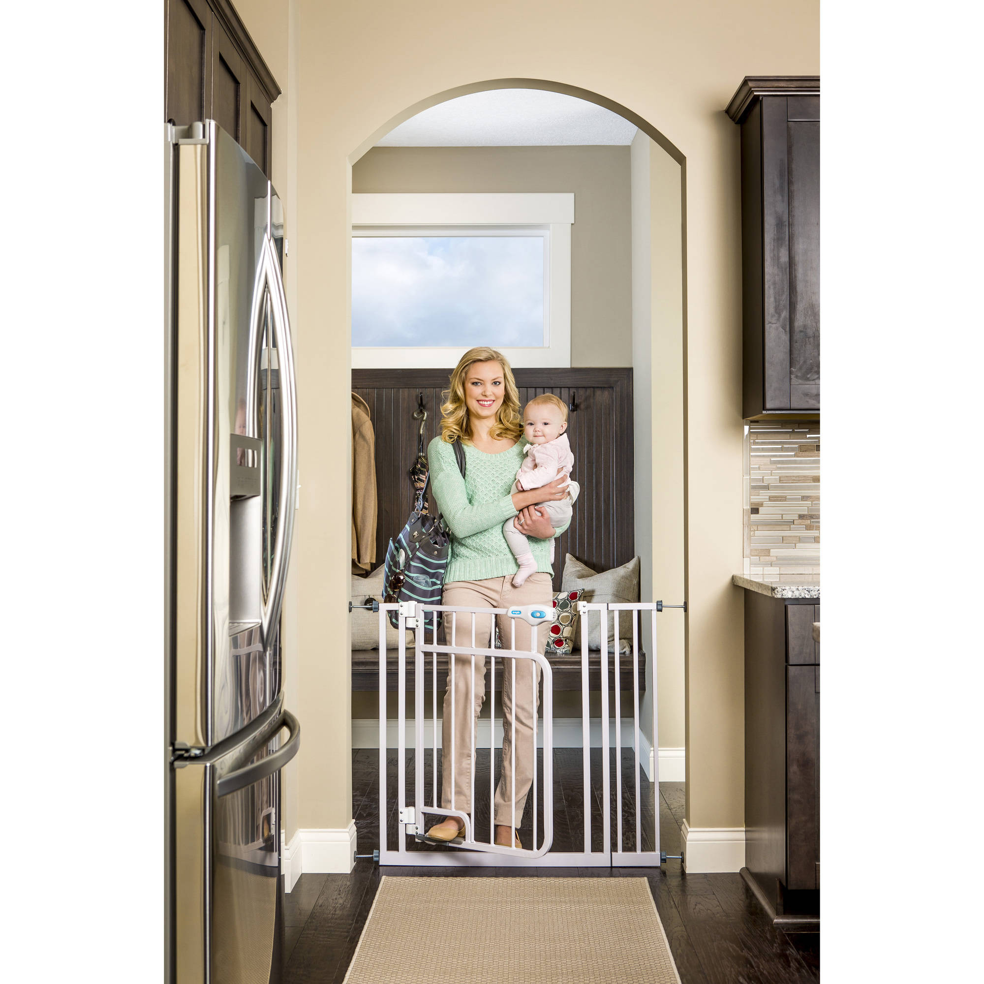 Regalo Hands Free Open Walk Through Baby Gate, Pressure Mount with Included Extension Kit