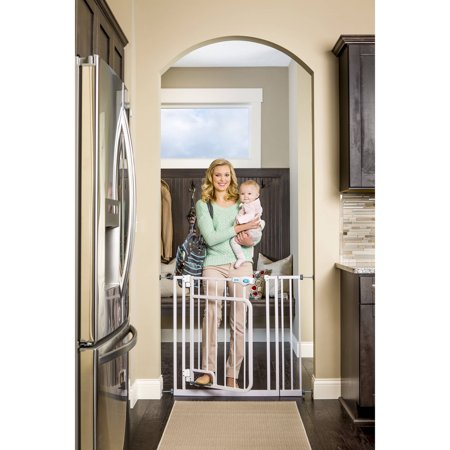 Regalo Hands Free Open Walk Through Baby Gate  Pressure Mount With Included Extension Kit