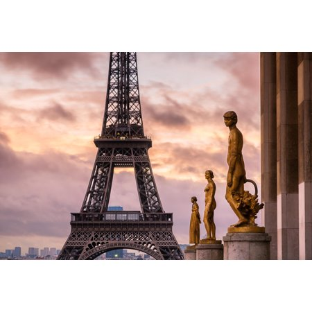 Sunrise Over Eiffel Tower Paris France Photo Art Print Poster 18X12 Inch