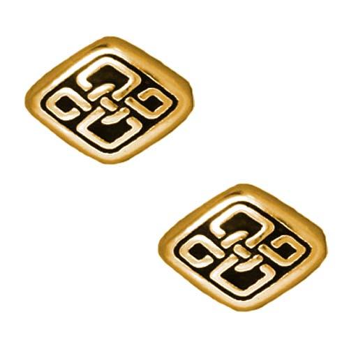 22K Gold Plated Pewter Long Celtic Diamond Beads 11mm (2)