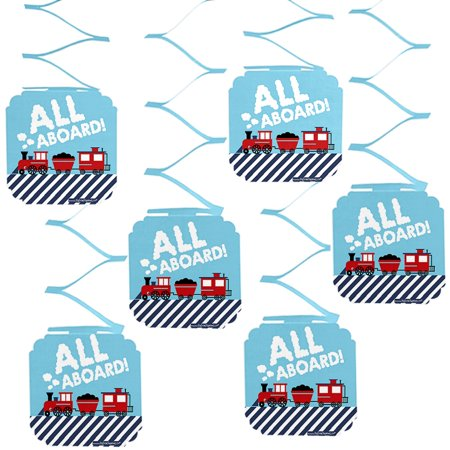 Noahs Ark Baby Shower Tea - Railroad Party Crossing - Steam Train Birthday Party or Baby Shower Hanging Decorations - 6 Count