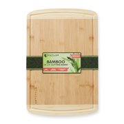 "Extra Large 18"" x 12"" Bamboo Cutting Board by KUTLER - Organic Wood Kitchen Butcher Block w/ Juice Grooves for Carving Meat, Chopping Vegetables, Serving Cheese"