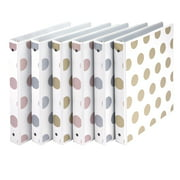 """Samsill Fashion Design 3 Ring Binder, Dots, 1"""" Round Rings, Assorted Colors (Gold, Silver, Rose Gold), Bulk Binders - 6 Pack"""